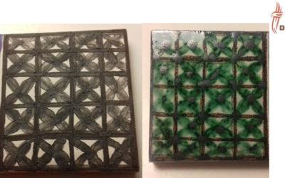 Técnica decorativa sobre cubierta, pintando verde y morado