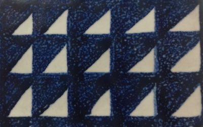 Técnica decorativa sobre cubierta. Pintando azul cobalto sobre esmalte blanco