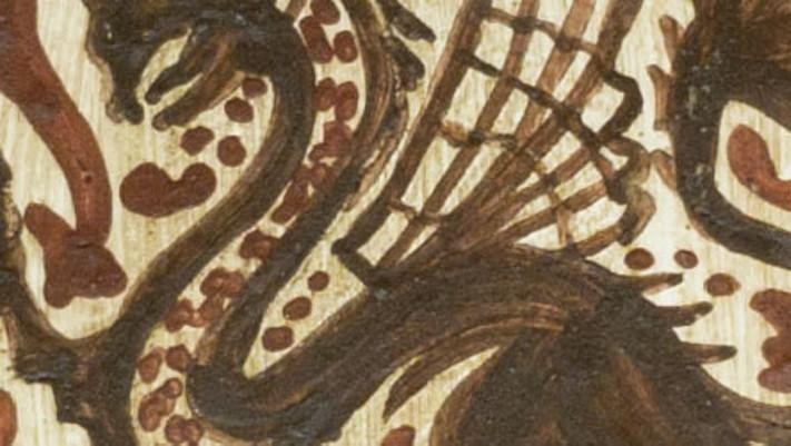 Pintado de un dragón con la técnica del socarrat.